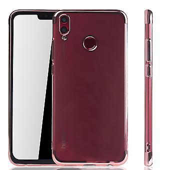 Handyhülle für Huawei Honor 8X Rose Pink - Clear - TPU Silikon Case Backcover Schutzhülle in Transparent / glänzender Rand Rose Pink
