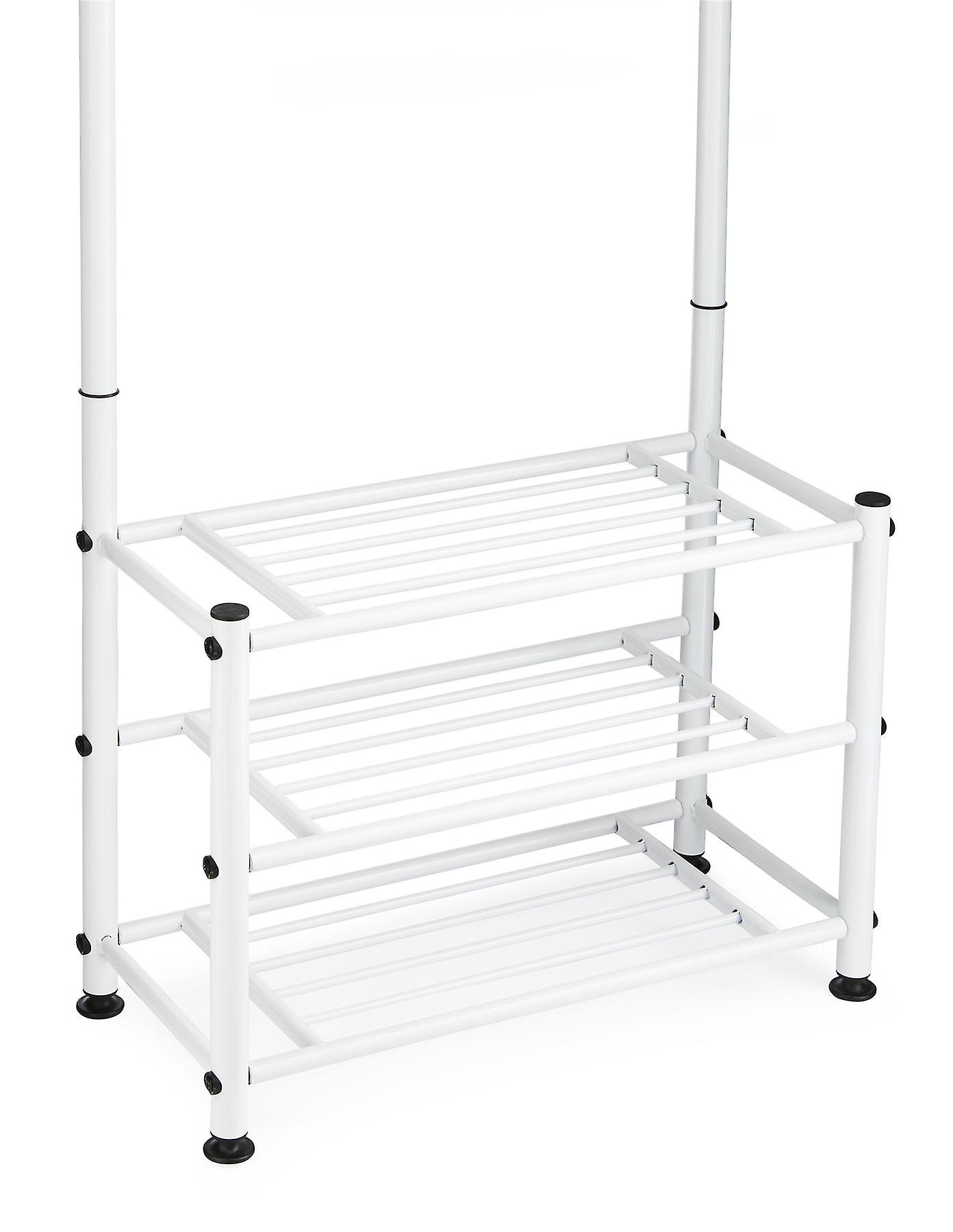 Multi Purpose Stand 18 Hooks For Clothes Shoes Hats Bags - White