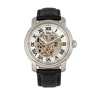 Reign Kahn Automatic Skeleton Leather-Band Watch - Silver