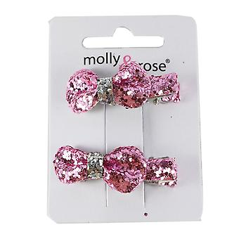 Molly & Rose Small Glitter Hair Bow Clasp 2 PK Pink