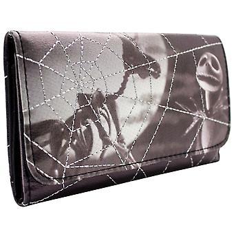 Nightmare Before Christmas Skellington Spider Web Tri-Fold Purse