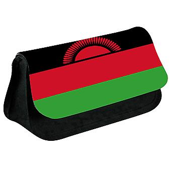 Malawi Flag Printed Design Pencil Case for Stationary/Cosmetic - 0104 (Black) by i-Tronixs
