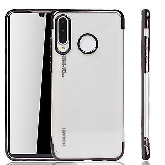 Funda del teléfono para Huawei P30 Lite negro-Clear-TPU Funda protectora de funda de silicona en transparente/brillante borde negro