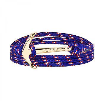 Holler Mosley zlato leštené kotva/modrá, červená a biela Paracord náramok HLB-02GDP-P16