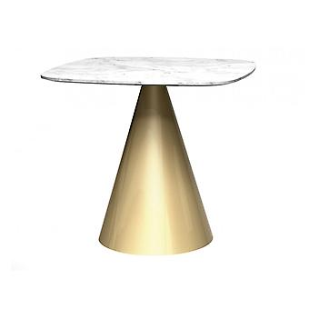 Gillmore Square Marble Dining Table With Conical Brass Base
