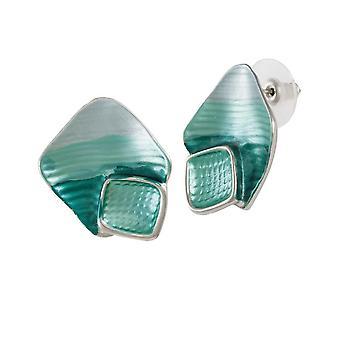 Eternal Collection Cavalcade Sea Green Multi Enamel Silver Tone Stud Pierced Earrings
