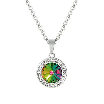 Eternal Collection Viva Green Vitrail Austrian Crystal Silver Tone Pendant