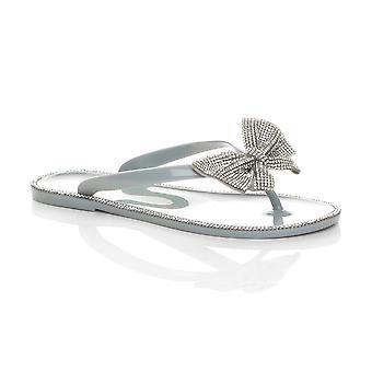 Ajvani Womens flat jelly diamante bow summer flip flops toe post sandals