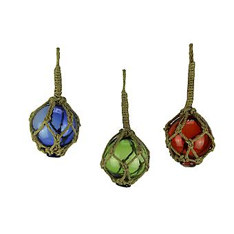 Blue Red and Green Glass Floats in Fishing Net Nautical Ornaments Set of 3