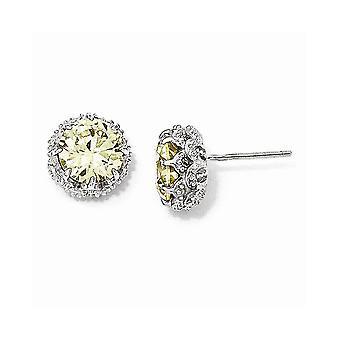 925 Sterling Argent Rhodium plaqué Round Canary CZ Cubic Zirconia Simulated Diamond Post Boucles d'oreilles Bijoux Bijoux pour Wome