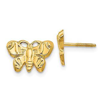 14k Yellow Gold Polished Screw back Butterfly Angel Wings for boys or girls Earrings Measures 8x10mm