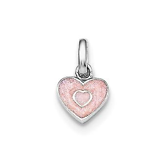 925 Sterling Silver Rh Plated for boys or girls Pink Glittered Enamel Love Heart Pendant Necklace