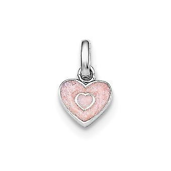 925 Sterling Gümüş Rh Erkek veya kız pembe ışıltılı Emaye Aşk Kalp Kolye Kolye için Kaplama