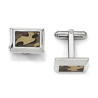 Stainless Steel Polished Printed Brown Camo Under Rubber Cuff Links Jewelry Gifts for Men