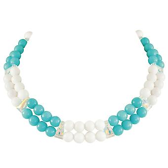 Eeuwige collectie finale Turquoise/White Mountain Jade en AB Crystal statement ketting