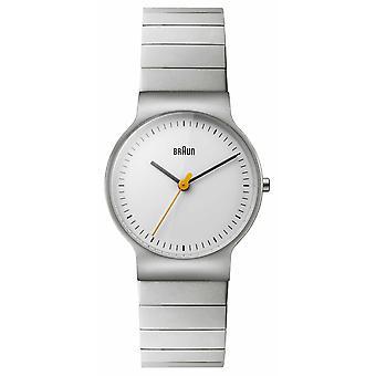 Braun pulsera de acero inoxidable para mujer esfera blanca BN0211SLBTL Reloj