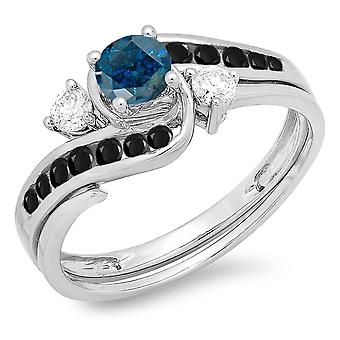 Colección Dazzlingrock 0.90 Quilates (ctw) 14K Round Blue, Black & White Diamond Swirl Bridal Ring Set, Oro Blanco