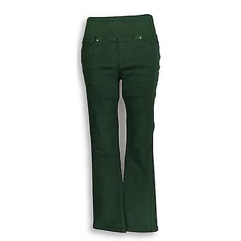 Belle by Kim Gravel Women's Petite Jeans Pull On Straight Green A297781