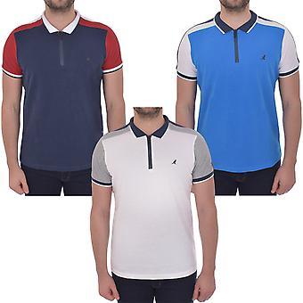 Kangol Mens Baldwin Short Sleeve Casual Cotton Colourblock Polo Shirt T-Shirt