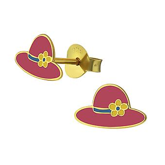 Hat - 925 Sterling Silver Colourful Ear Studs - W38004X