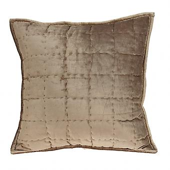 """20"""" x 7"""" x 20"""" Transitional Taupe Solid Quilted Pillow Cover With Poly Insert"""