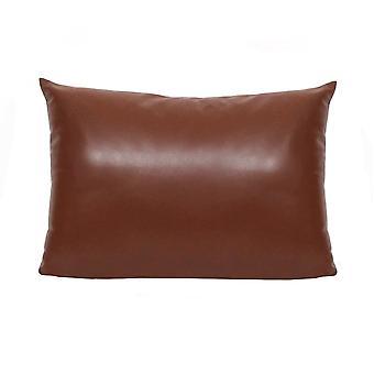 Brown Faux Leather Lumbar Pillow