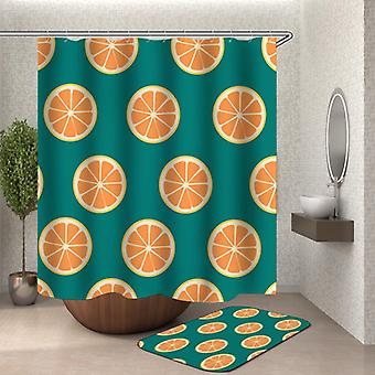 Teal And Orange Slices Shower Curtain