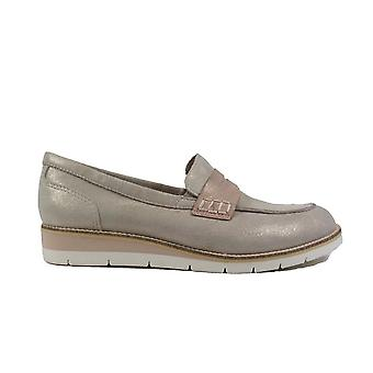 Tamaris 24303 Taupe Leather Womens Slip On Loafer Shoes