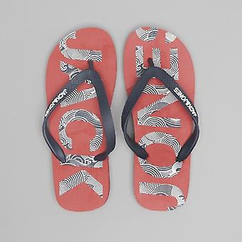 Jack & Jones Logo Print Mens Flip Flops Barbados Cherry