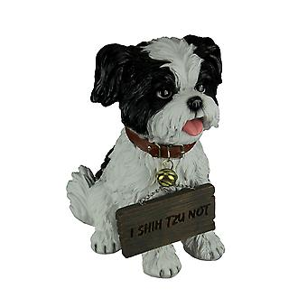 White Shih Tzu Puppy Indoor Outdoor Welcome Statue with Reversible Message Sign