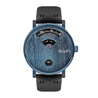 Vereenvoudig de 7000 Leather-band horloge-blauw/zwart
