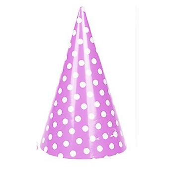TRIXES 6PC Pack Pink Party Hats with Elastic