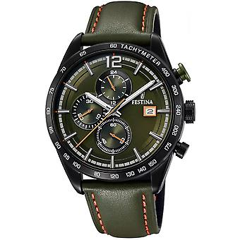 Festina klockor CHRONO SPORT F20344-6 watch - klocka chronograph grön läder man