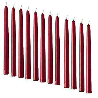 12 Bougies à ruban rouge Claret - 25cm De haut - 2.3cm wide