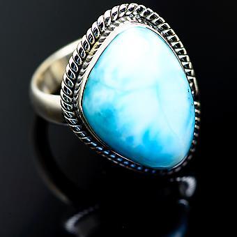 لاريمار خاتم حجم 6.5 (925 الجنيه الاسترليني الفضة) -- اليدوية بوهو خمر مجوهرات RING987216