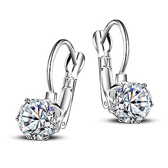 18k white-gold plated drop leverback earrings