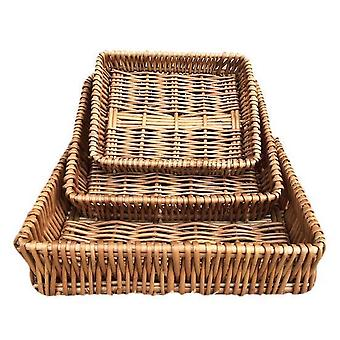 Shallow Wicker Tray Set of 3