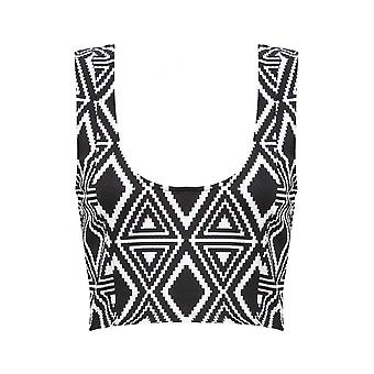 Monochrome Aztec Plaid Print Top