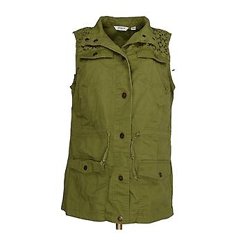 Liz Claiborne Women's Top Snap Front Vest With Eyelet Green