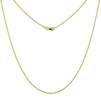 14k Gul Guld 1.15mm Sparkle Cut Pärla Kedja Halsband Hummer Lås Stängning Smycken Gåvor för kvinnor - Längd: 16 till 20