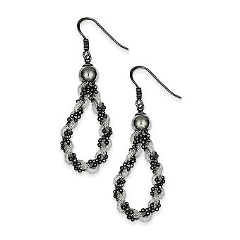 925 Sterling Silver Black Rhodium Mesh and Beaded Long Drop Dangle Earrings Jewelry Gifts for Women