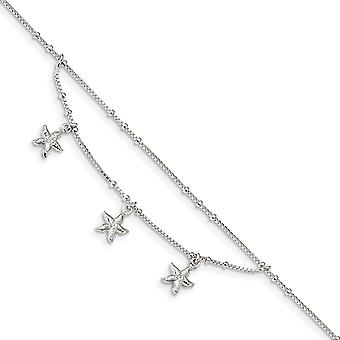 0.8mm 925 Sterling Silver Polished 2 strand Sea shell Nautical Starfish With 1in Ext Anklet 9 Inch Jewelry Gifts for Wom