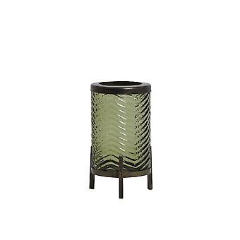 Light & Living Hurricane 7x10cm - Tibor Glass Olive Green And Antique Bornze