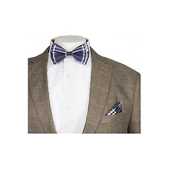 JSS Blue & White Checked Silky Satin Bow Tie And Handkerchief Set