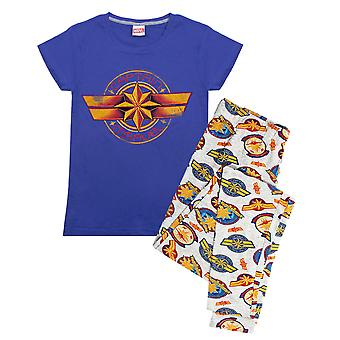 Kaptan Marvel Logo Baskı Kadın's Loungepants & T-Shirt Pijama Seti