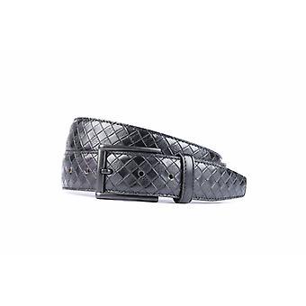 Stilvolle schwarze Pantalon Gürtel mit Diamant Dessin