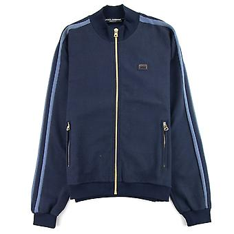 Dolce & Gabbana Dolce&Gabbana Patch Logo Zip Up Funnel Neck Navy Blue S9000