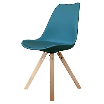 Fusion Living Eiffel Inspired Petrol Blue Plastic Dining Chair With Square Pyramid Light Wood Legs