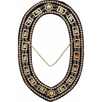 Knights templar - masonic rhinestones chain collar - gold/silver on black