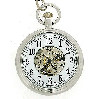"""Boxx Gents Silver Metal White Dial Open Face Mechanical Pocket Watch 12"""" Chain Boxx307"""
